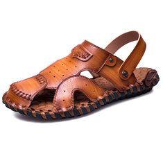 Hommes Coutures Trou Perméable À L'air Doux Antidérapante Sandales Imperméables En Cuir Extérieur RKVckrKKe