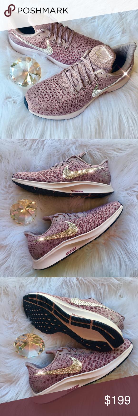 a1b19c52589 Bling Nike Pegasus 35 Shoes w  Swarovski Crystals STUNNING!! Brand New Nike  Air Zoom Pegasus 35 Women s Shoes with Swarovski Crystals on outside Logo  of ...