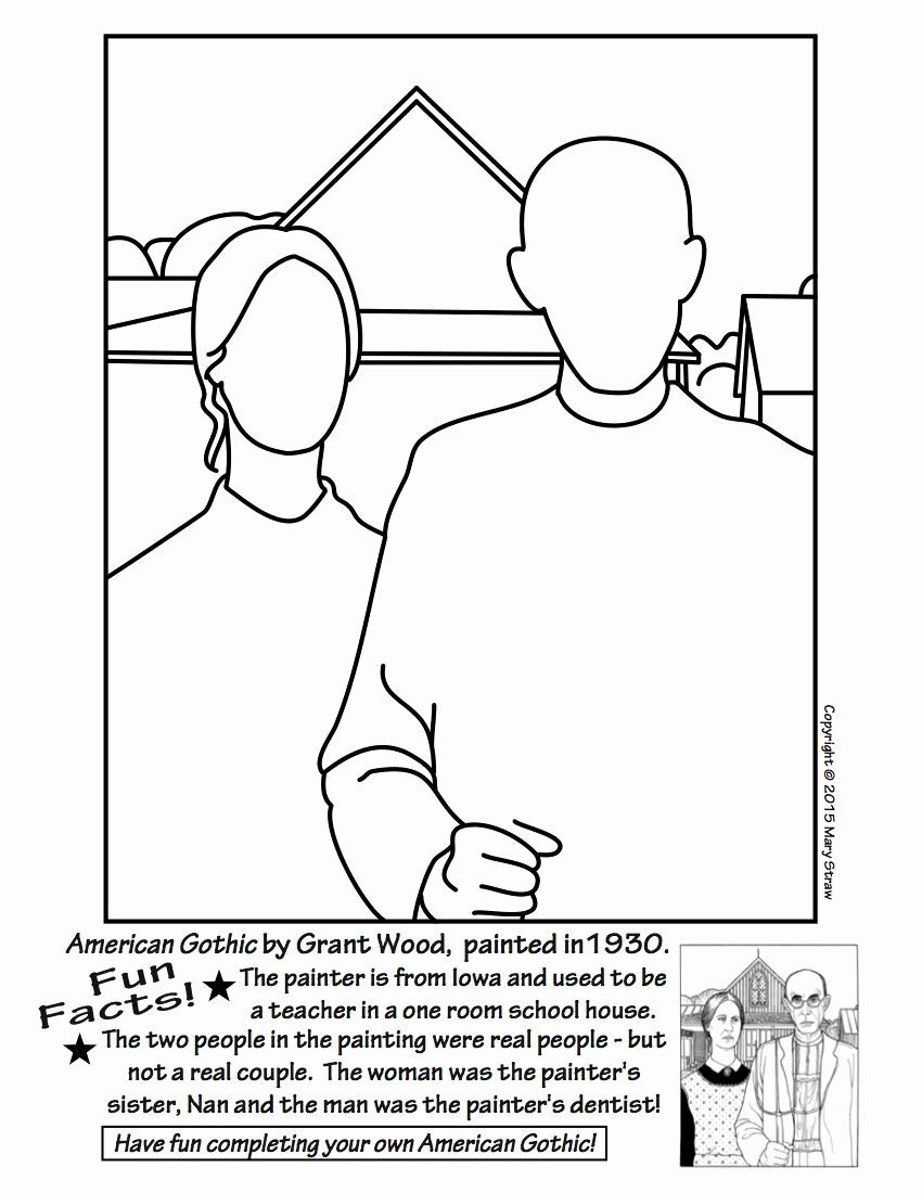 American Gothic Coloring Page Luxury American Gothic Coloring Page Car Essay In 2020 American Gothic Arts Enrichment Elementary Art Projects