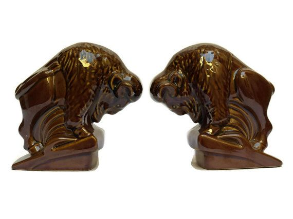 10% Off Ceramic Bison Bookends. Hunting Decor. By LeBonheurDuJour