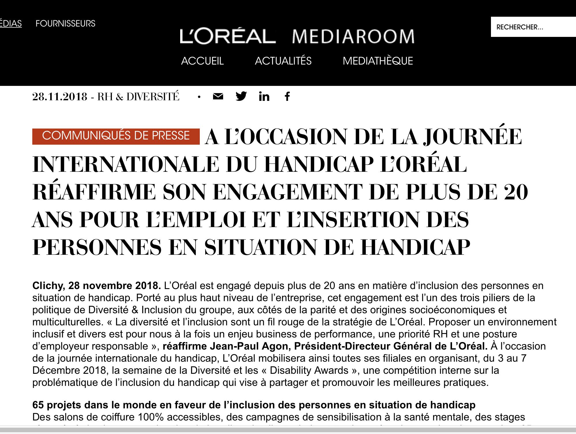 Loreal Une Priorite Rh Et Une Posture D Employeur Responsable Reaffirme Jean Paul Agon President Directeur General De L Oreal A L Occ Loreal Press Release