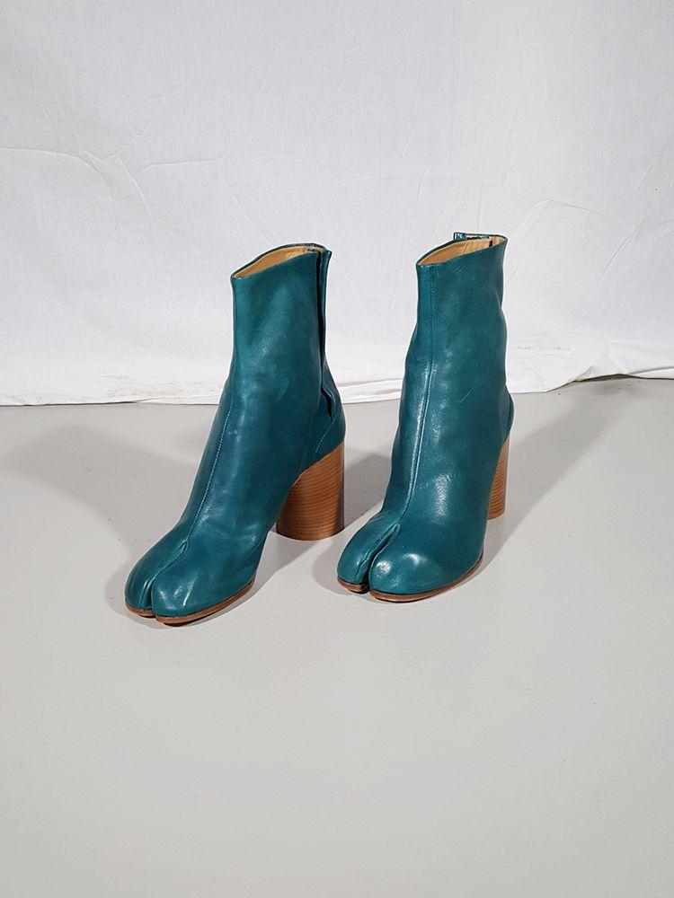 Maison Martin Margiela Green Tabi Boots With Wooden Block Heel 40