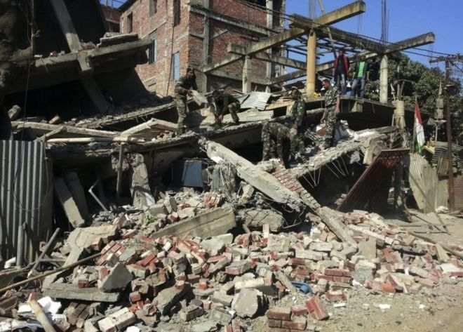 Earthquake hits India's Manipur state  An earthquake measuring 6.7 magnitude has hit northeast India, near its borders with Myanmar and Bangladesh, killing at least five people.  The quake hit at 04:35 local time (23:05 GMT Sunday) about 29km (18 miles) northwest of Imphal, the capital of Manipur state, according to the US Geological Survey (USGS).  Strong tremors have been felt across the region.  The earthquake was originally reported to have measured 6.8 magnitude.