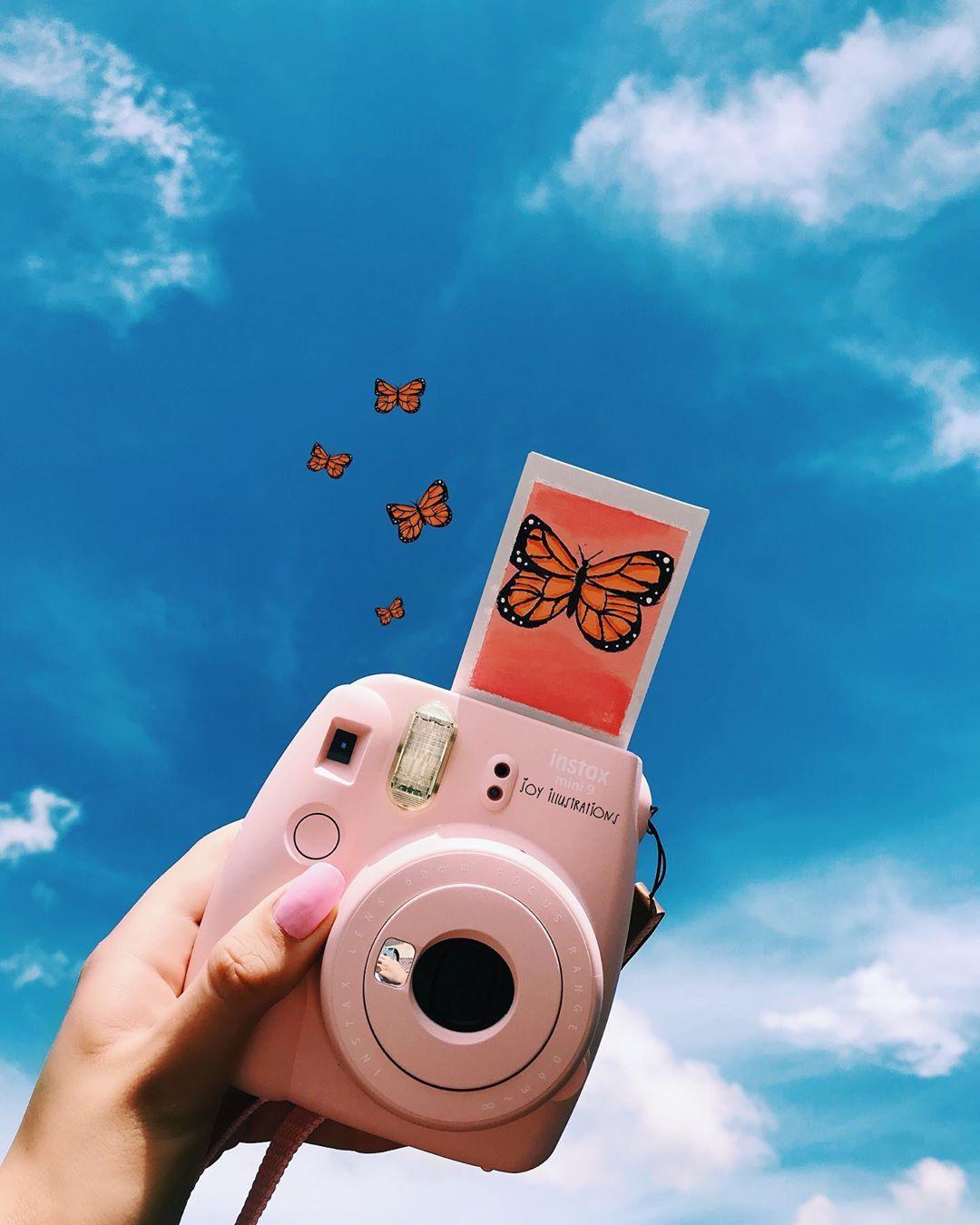"""joy ! on Instagram: """"butterfly painted Polaroid 🦋 #art # ..."""