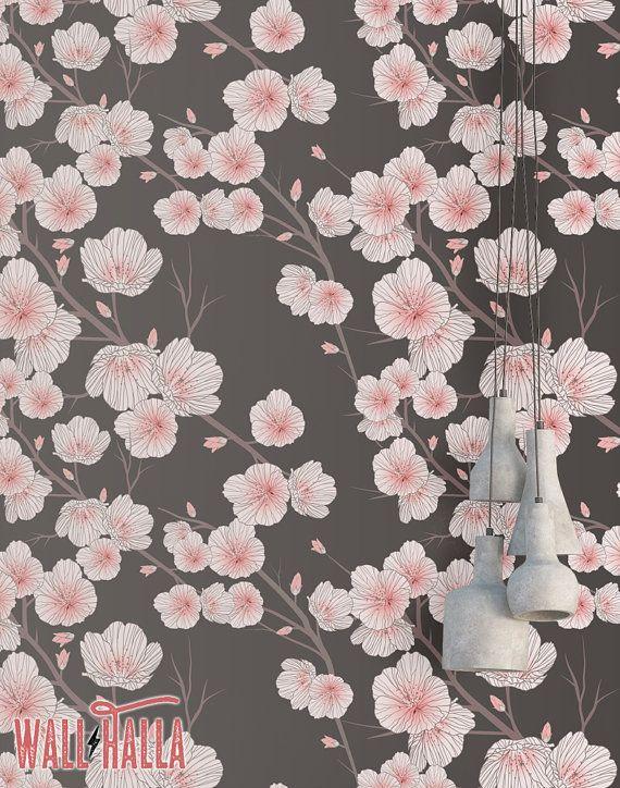 Cherry Blossom Wallpaper Removable Wallpaper Asian Flowers Etsy In 2021 Cherry Blossom Wallpaper Cherry Blossom Japanese Cherry Blossom