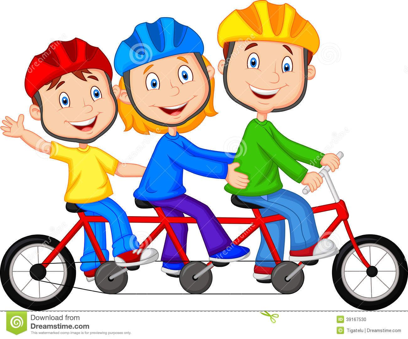 Happy Family Cartoon Riding Triple Bicycle Stock Vector Image ...