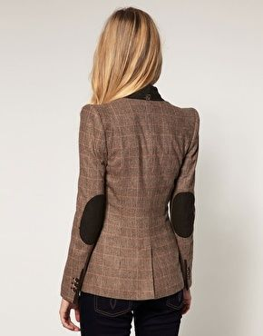 Ted Baker Checked Sharp Shoulder Blazer with Suede Elbow Patches
