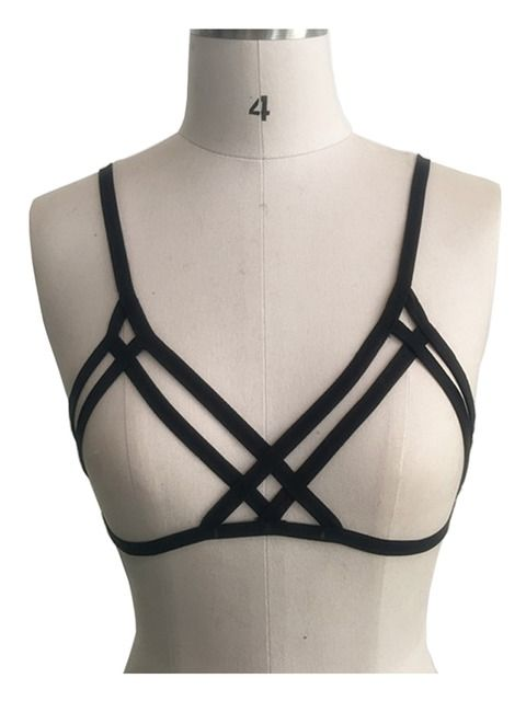 ad5783238dce7 ... Bustier Crossback Crop Top Bralette Halter. Black Elastic Spaghetti  Strap Bondage Harness Cage Bralet