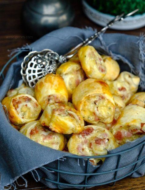 Schnelles Party Rezept: Blätterteigschnecken mit Schinken, Salami und Käse. #patefeuilleteerapide