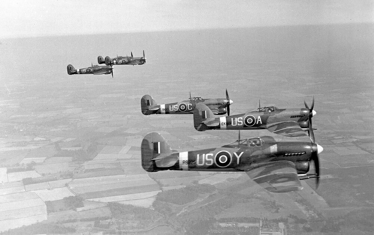 British Hawker Hawker Typhoon IBs of RAF 56th Squadron in flight. 56 Squadron was based on the airfield Matlesk from August 1942 to July 1943 . Their main task was patrolling the airspace over the south coast of the UK and intercepting of German fighter-bombers coming at low altitudes.