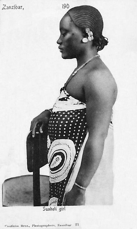 Africa   Swahili girl. Zanzibar.   Vintage postcard; photographers Coutinho Brothers.  No 21