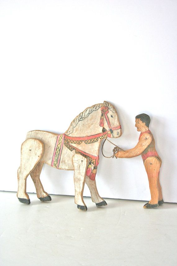 vintage folk art circus wooden toy horse and rider by mightyfinds, $110.00