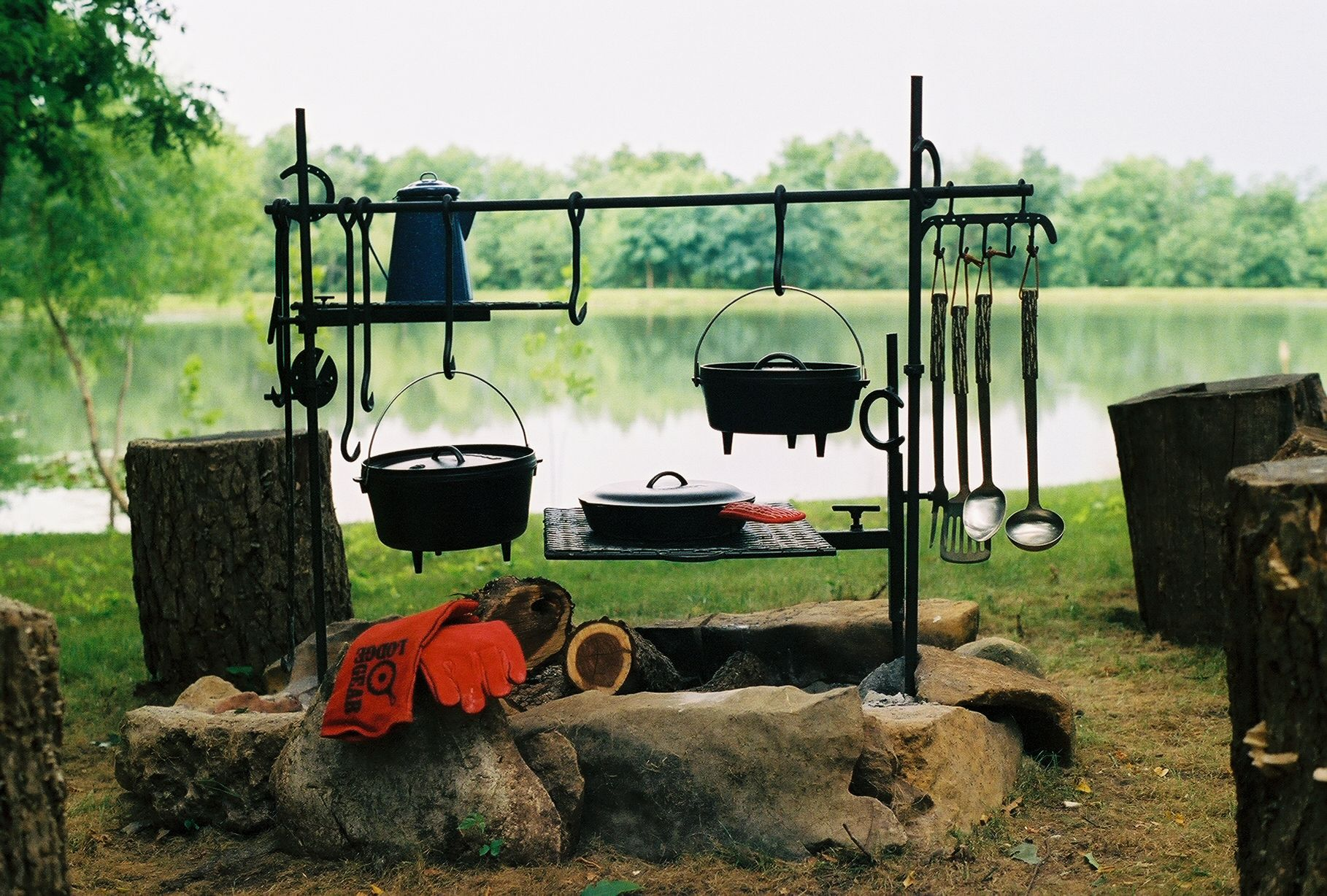 Cast Iron Cooking An Amazing Camp Kitchen Setup Cooking Set Camping Cooking Gear Campfire