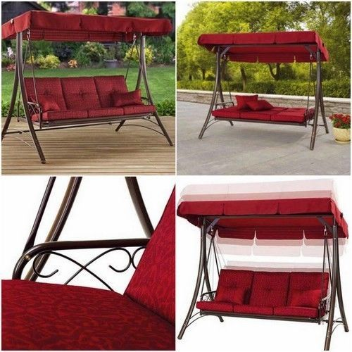 Outdoor Porch Swing Patio Metal Bed Canopy 3 Person Seat Daybed Garden  Hammock