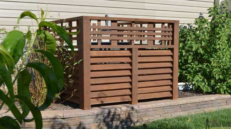 Wood Louver A C Unit Screen Air Conditioner Cover Outdoor Pool Equipment Cover Outdoor Wood
