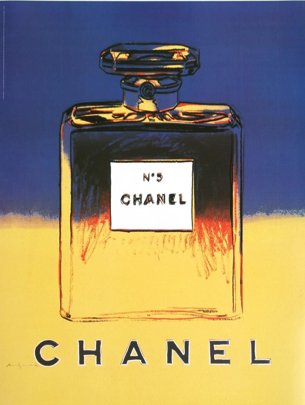 CHANEL SMALL - YELLOW BY ANDY WARHOL ORIGINAL VINTAGE POSTER #andywarhol