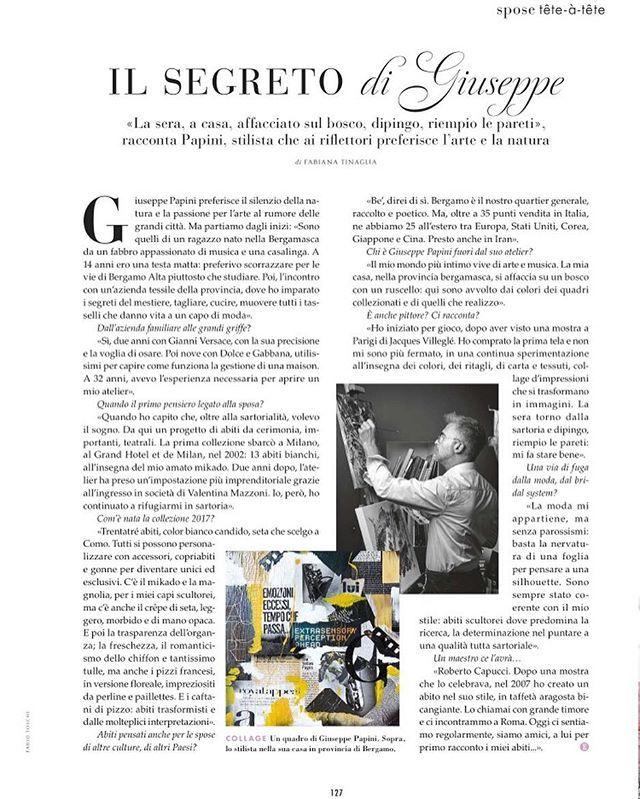 Giuseppe's secrets, revealed on Elle Spose Collezioni Collezioni @elle_italia @mr_bridal_elle #giuseppepapini #interview