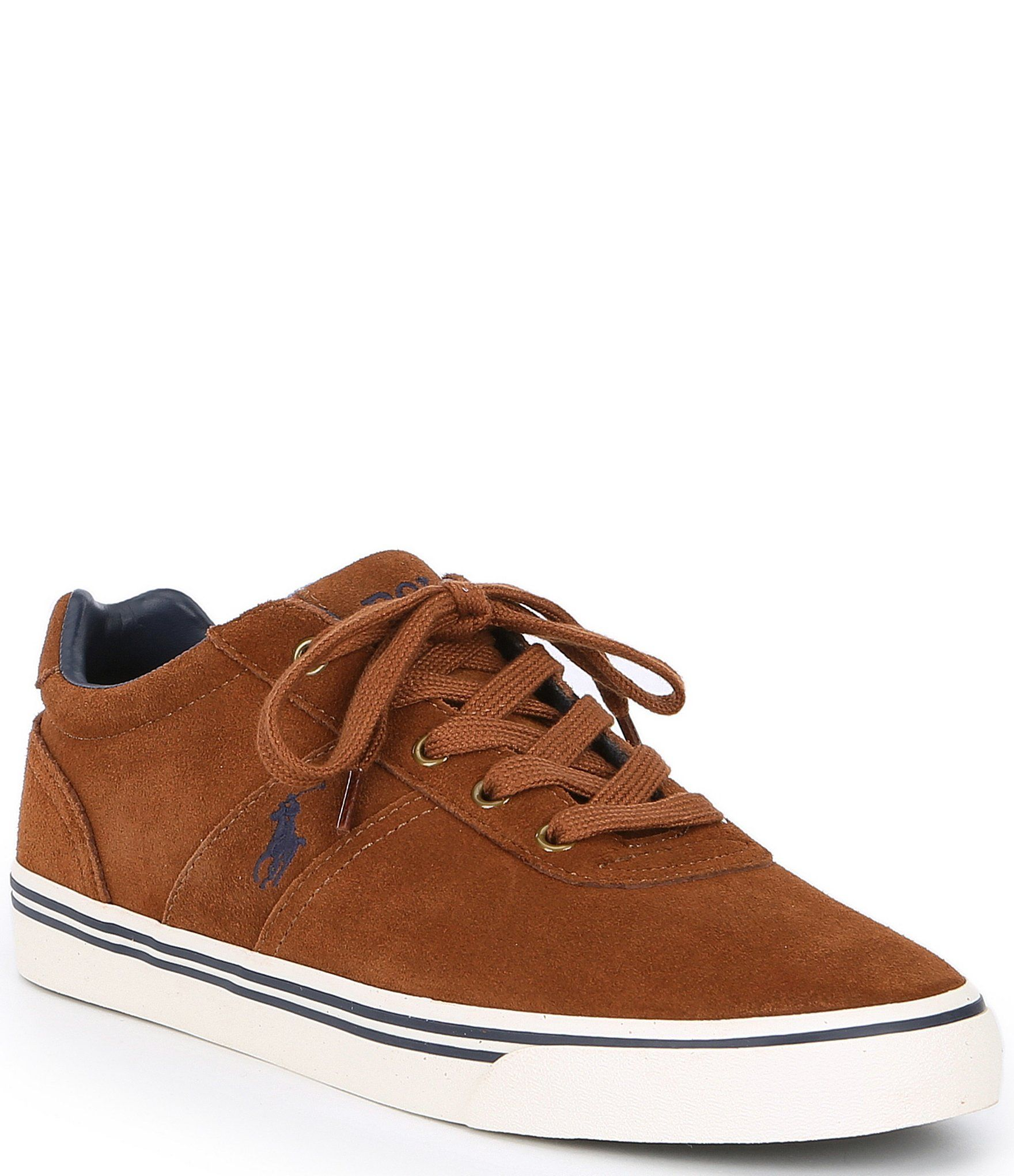 Ralph Lauren Junior Trainers Snuff Brown Geoff KIds Lace Up Sport Casual Shoes
