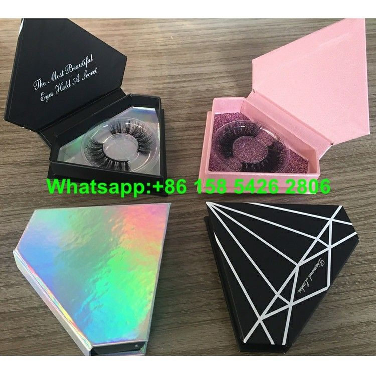 820b4996213 Diamond shape Private Label eyelash packaging box, holographic paper eye lash  box