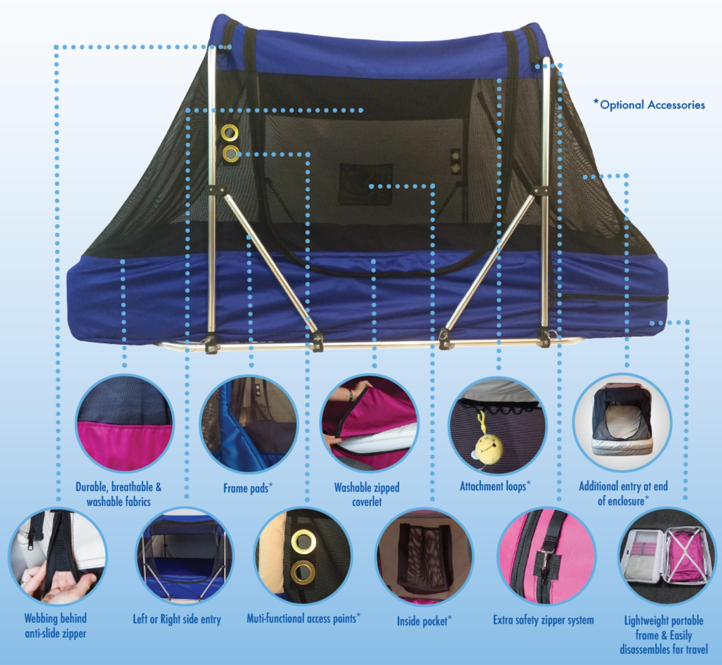 The Safety Sleeper is a fully enclosed and portable bed system for children  and adults with special needs. It helps families taking care of their loved  ones ... b9aba0a5c