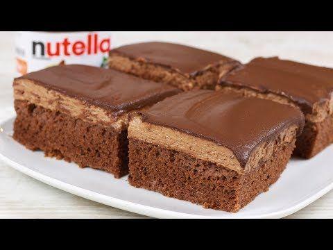 Saftige Nutella Schnitten - Nutella Kuchen I Schokoladen Kuchen #recipeforbananapudding