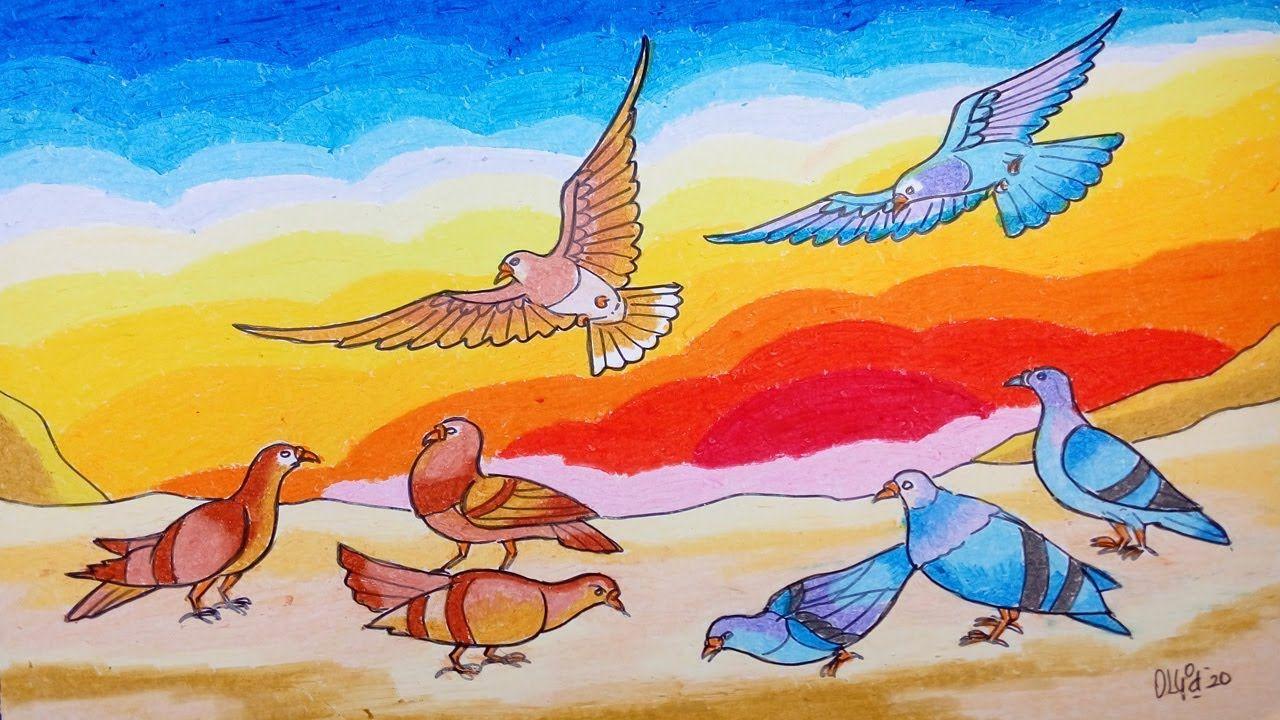 Cara Menggambar Burung Merpati Dan Pemandangan Dengan Crayon Oil Pastel Gambar Burung Cara Menggambar Burung