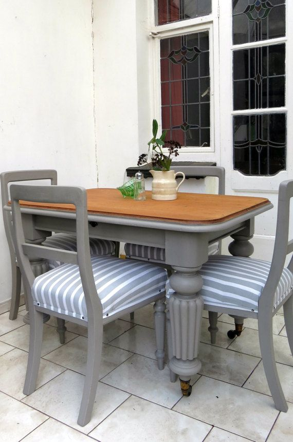 Antique Dining Table And Chairs Set Mahogany Grey Normandy Stripe
