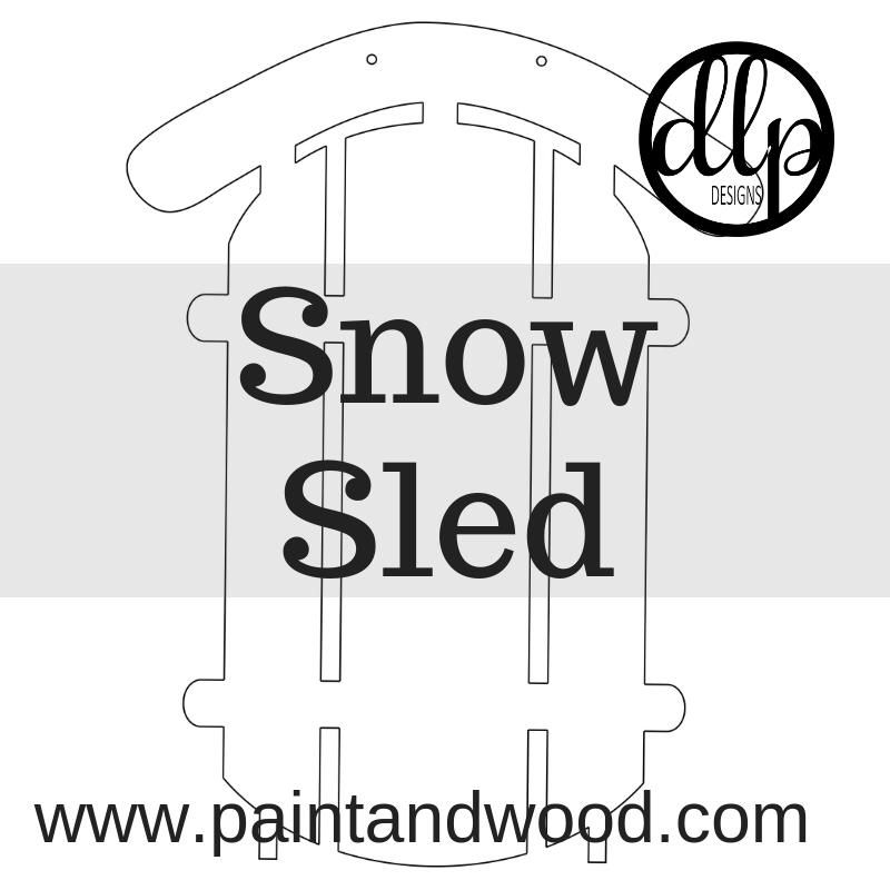 Winter Snow Sled Door Hanger Unfinished Snow Sled Door