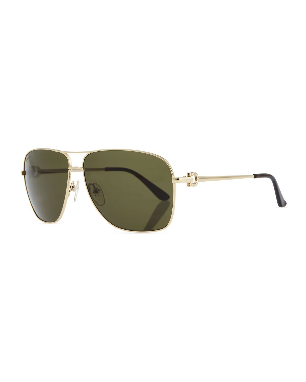 888b50de4368 Navigator Metal Aviator Sunglasses, Shiny Gold, Women's - Salvatore  Ferragamo