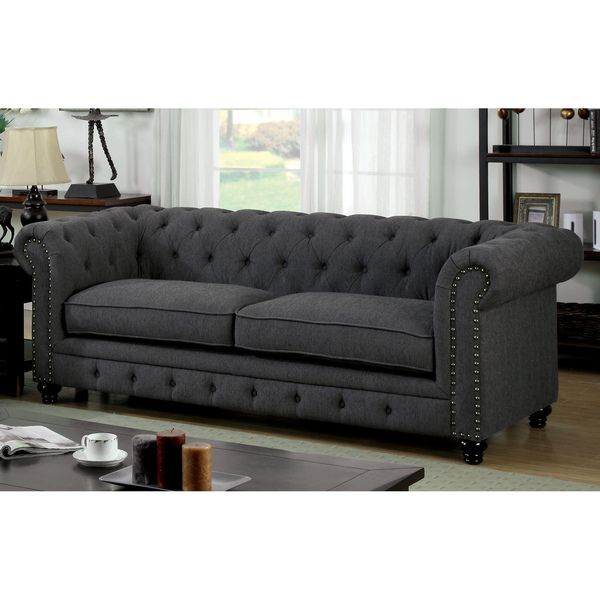 Furniture Of America Staffers Traditional Deep Tufted Tuxedo Style Sofa