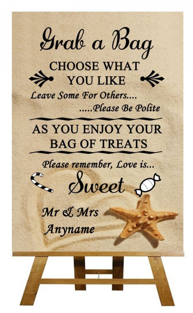 A4 Vintage Beach Sand Candy Buffet Sweet Cart Poem Wedding Sign Poster In Home Furniture