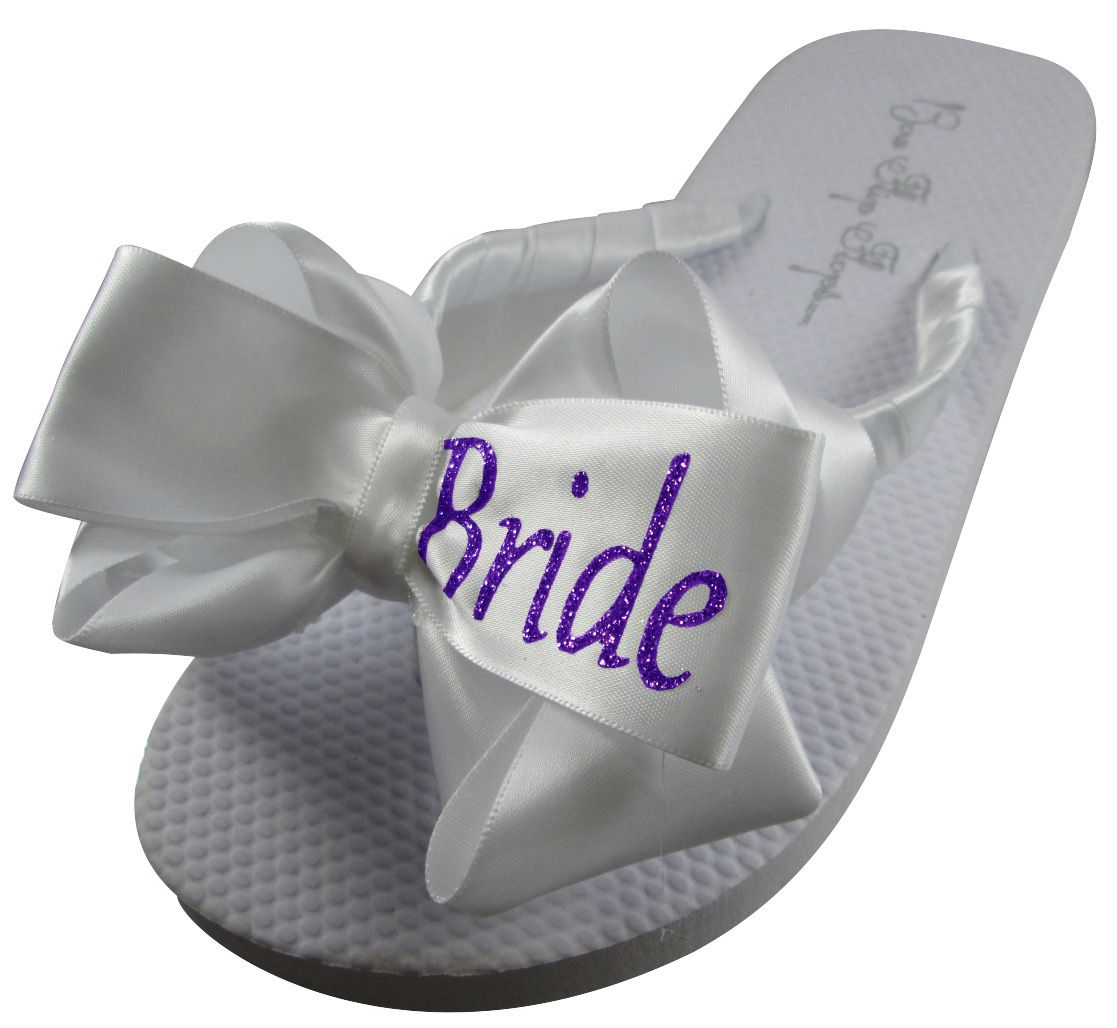 Shop for Bride Glitter Bow Flip Flops- all sizes, heel heights, colors