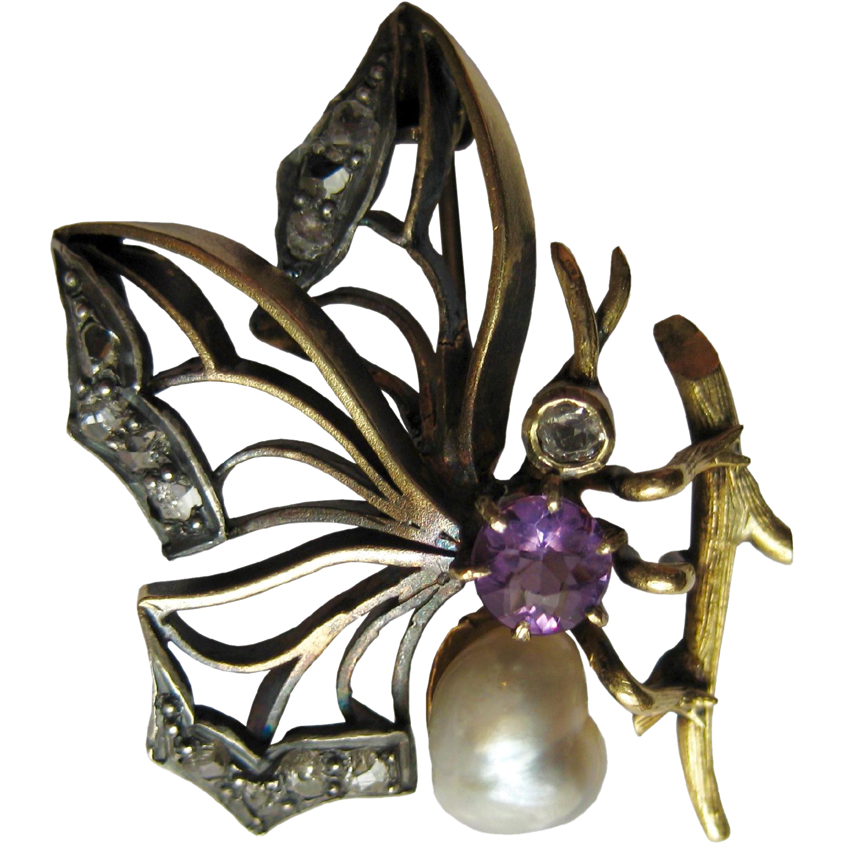 Victorian Butterfly Brooch by gandsco on Ruby Lane