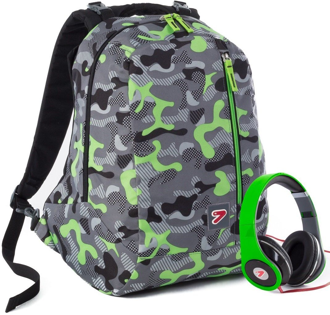 pre order sold worldwide new product Zaino SEVEN - THE DOUBLE CAMOUFLAGE - Verde cuffie stereo ...