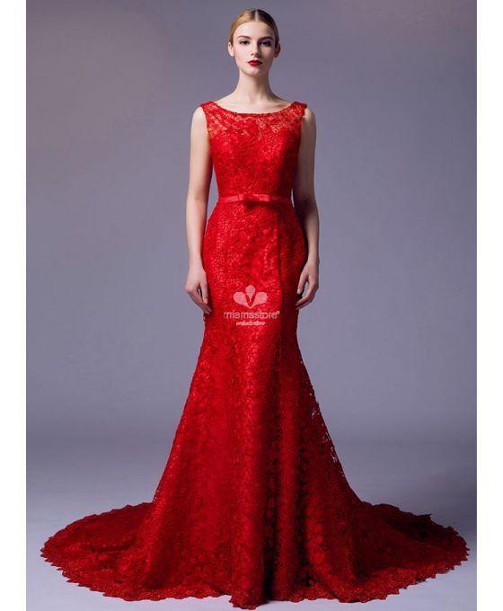 402718ab5ee3 Abito da Sposa Rosso a sirena in pizzo macrame disponibile in tutti i colori