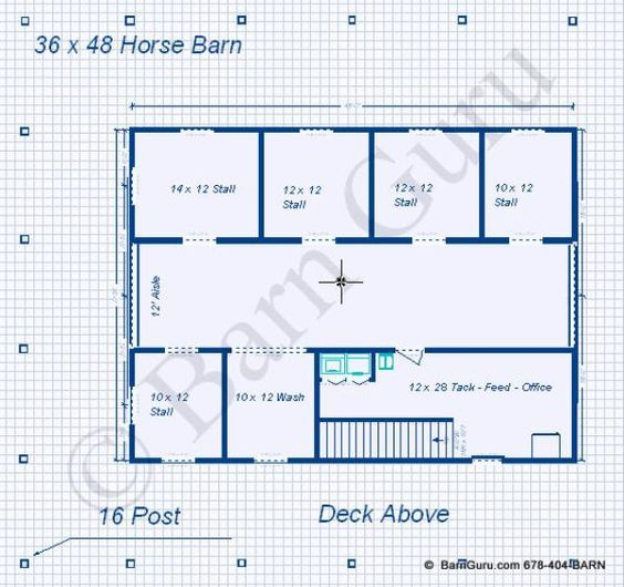 Barn plans 5 stall horse barn with tack and feed living for 6 stall horse barn plans