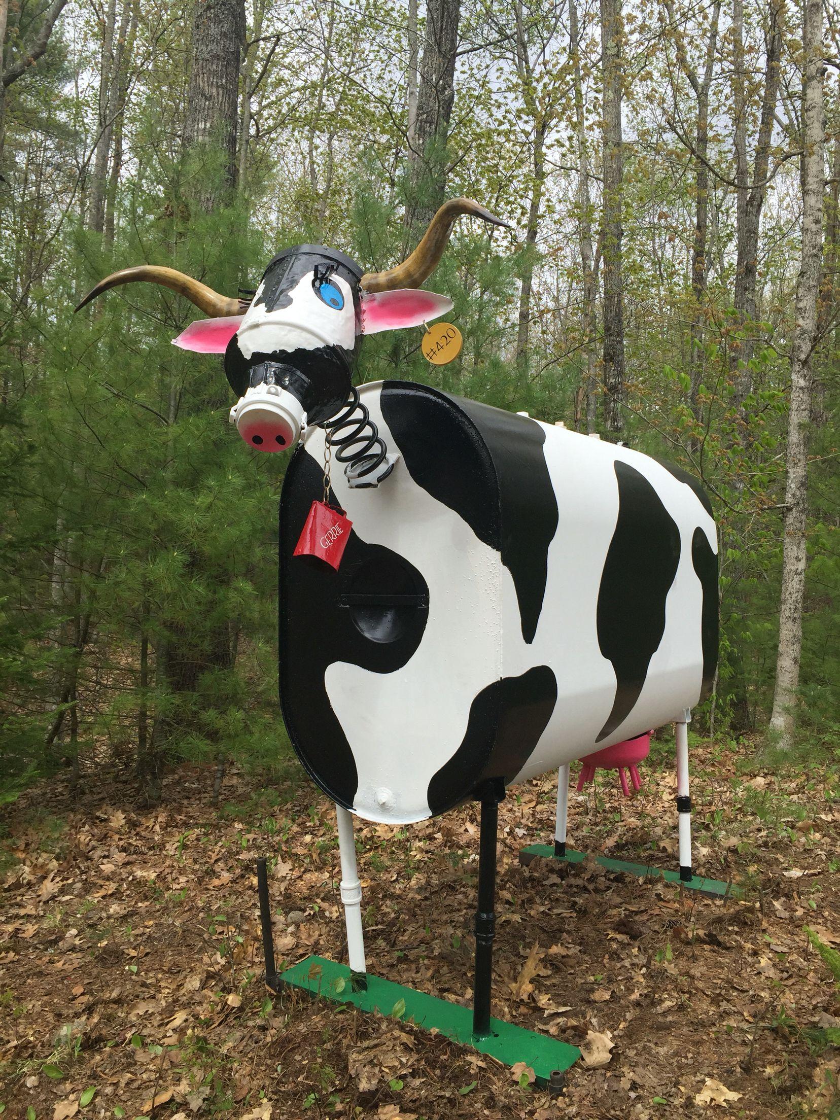 Oil tank cow | altered mixed media bots | Recycled yard art, Farm