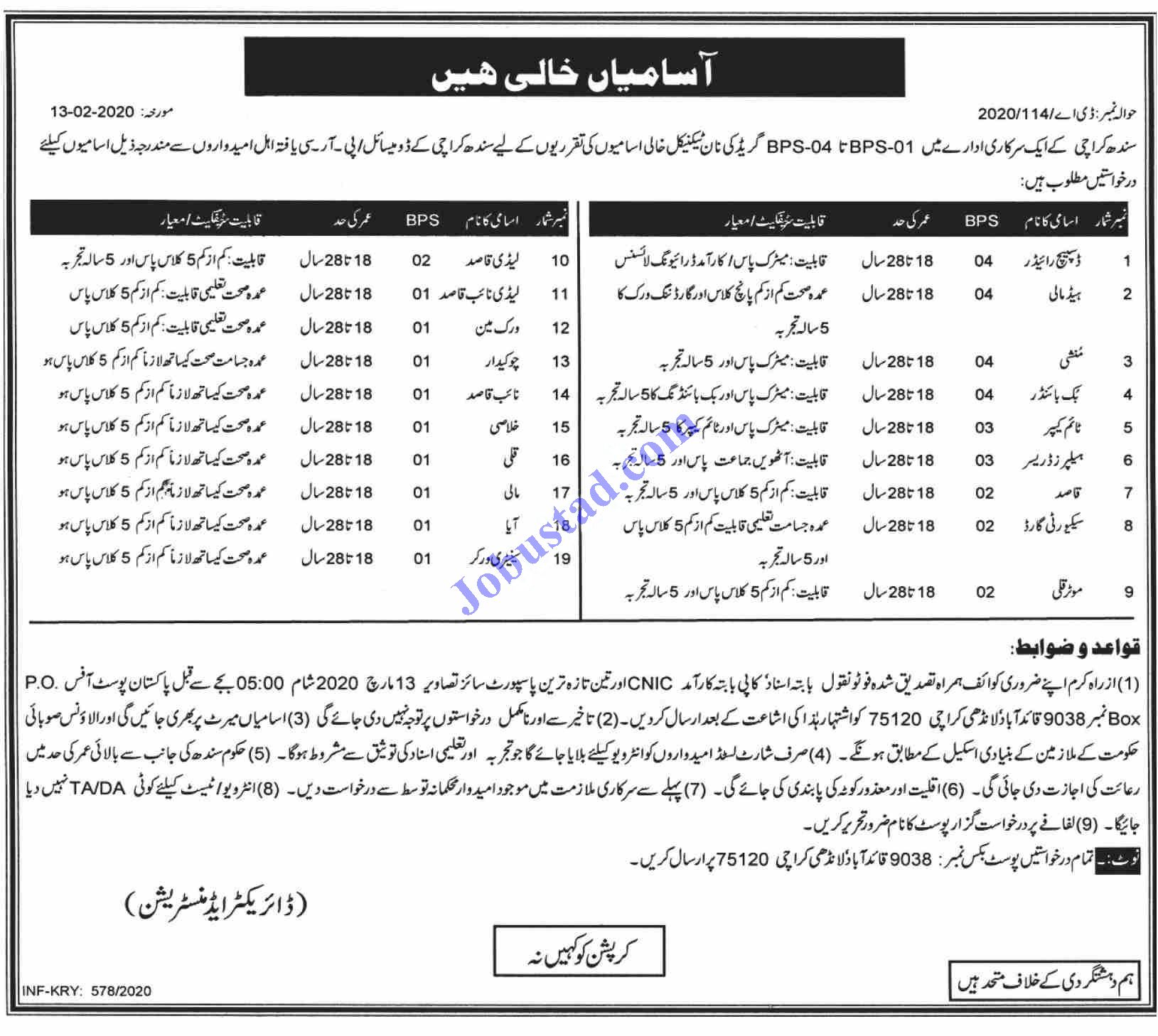 Government of Sindh Jobs in Karachi 2020 in 2020
