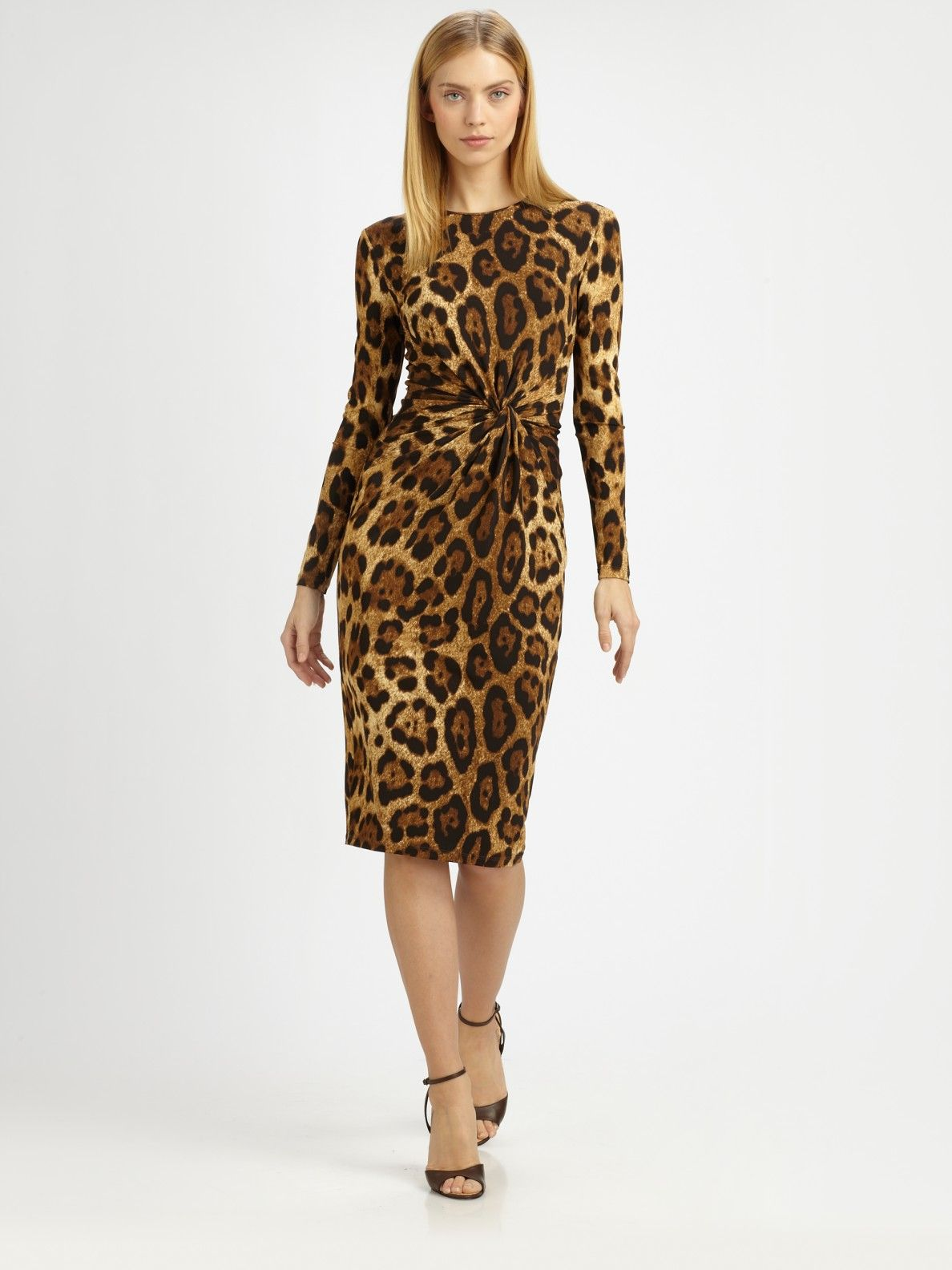 6a7309ef8937 michael kors leopard print dress in brown lyst