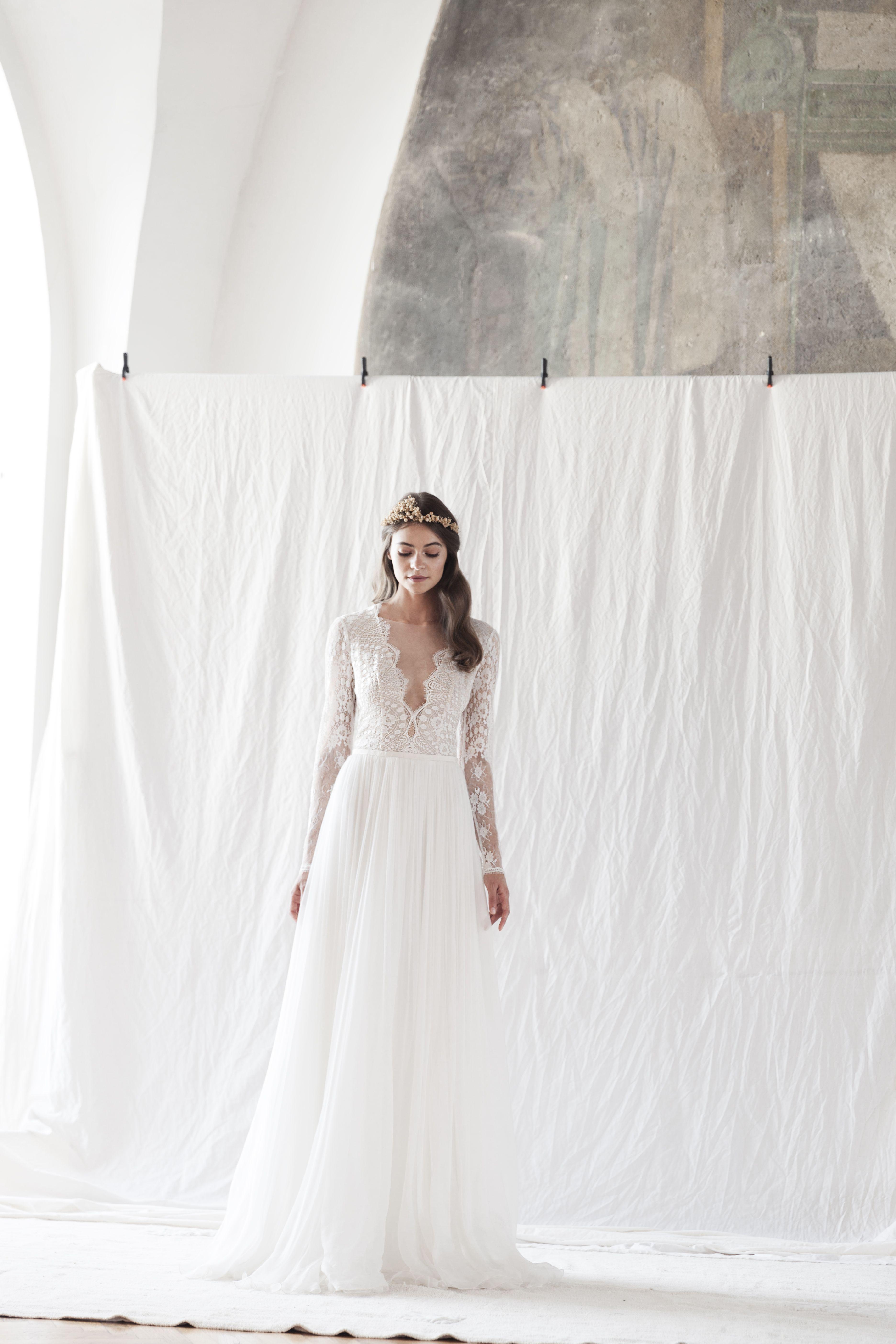 Blush wedding dress with sleeves  Blush wedding dress CollectionDivine Atelier divineatelier