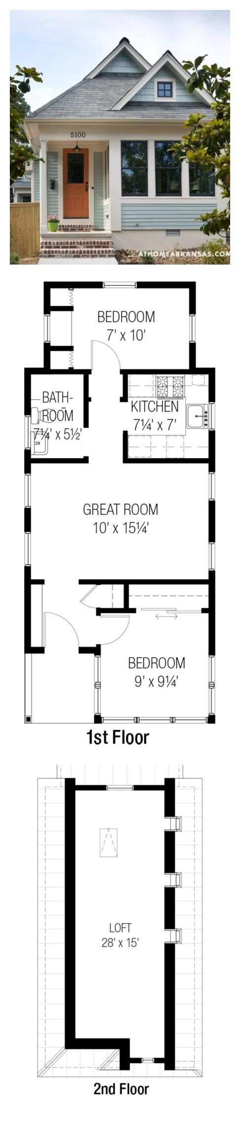 Plan #915-16/Whidbey from Tumbleweed Tiny House Co.   557 SF   2 Bed   1 Bath   0 Car   1 Story + Loft (for playhouse/vacation home)