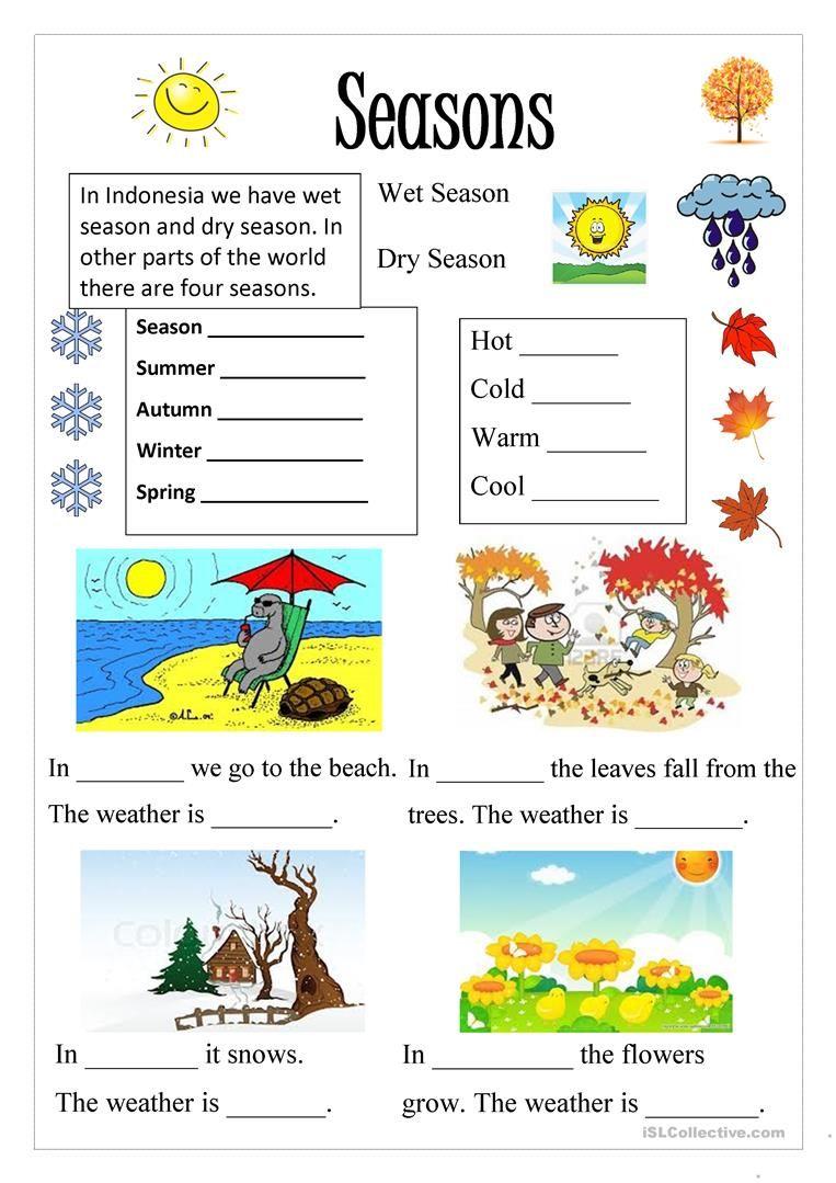 worksheet weather and season   ค้นหาด้วย Google   บัตรคำ ...
