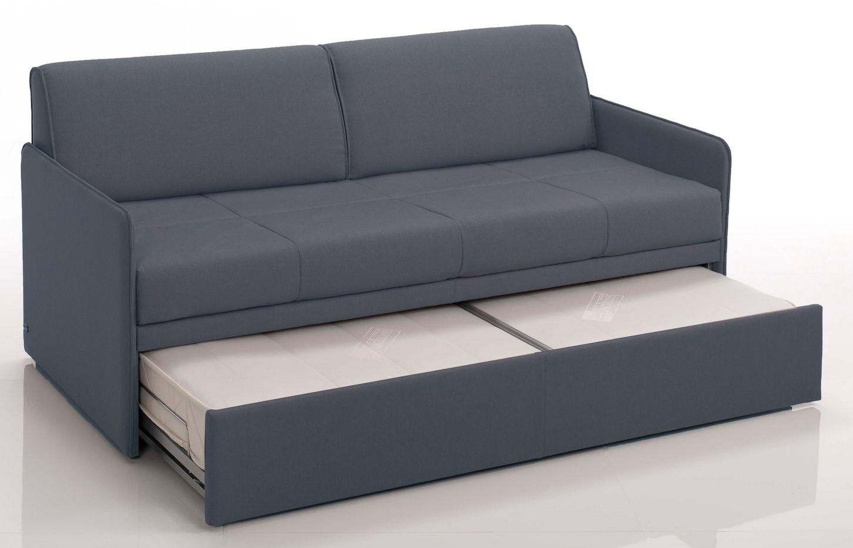 Canape Convertible Gigogne Revetement Tissu Gris Fonce Modane Lestendances Fr Canape Moderne Lit 2 Places Tissu Gris