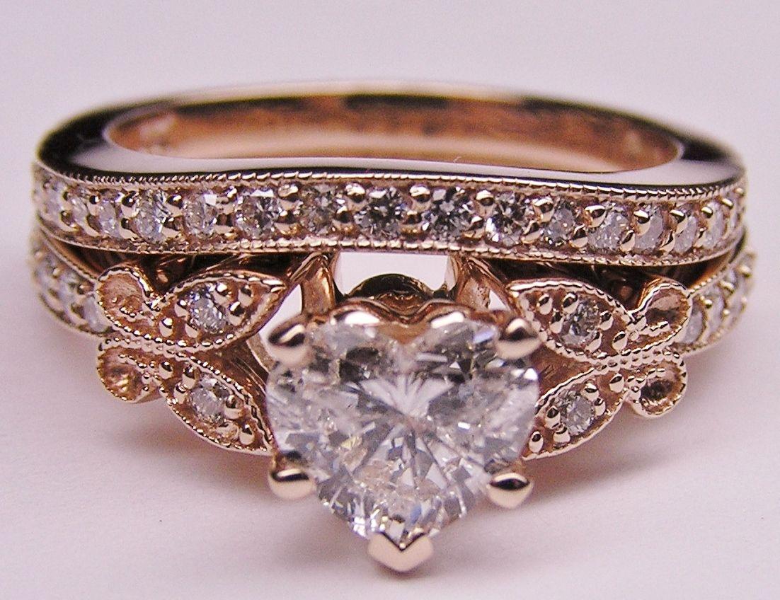 Heart Shape Diamond Butterfly Vintage Engagement Ring Setting Ma Heart Shaped Engagement Rings Engagement Ring Matching Wedding Band Vintage Engagement Rings