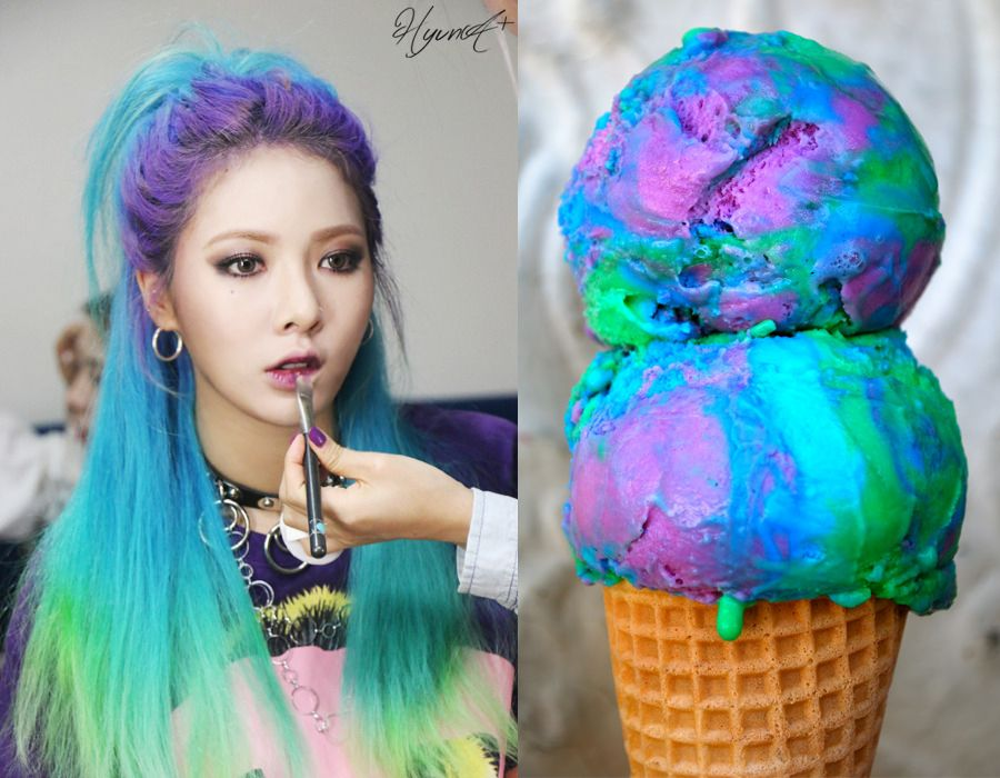 10 Times Rainbow Haired K Pop Idols Looked Like Ice Cream Soompi Hair Cream Hyuna Ice Cream Rainbow Hair