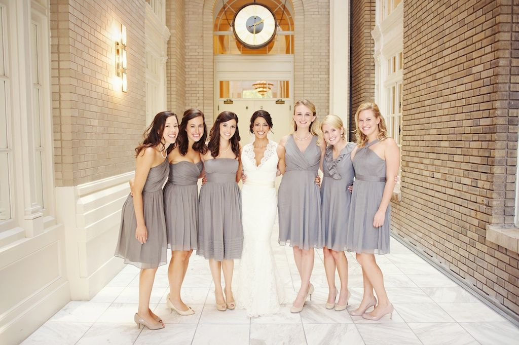 Grey bridesmaid dresses. I like the grey with nude or cream ...