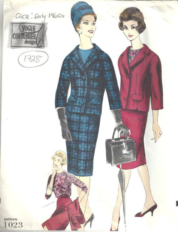 196Os Vintage Vogue  Sewing Pattern B34 Suit Skirt  Jacket