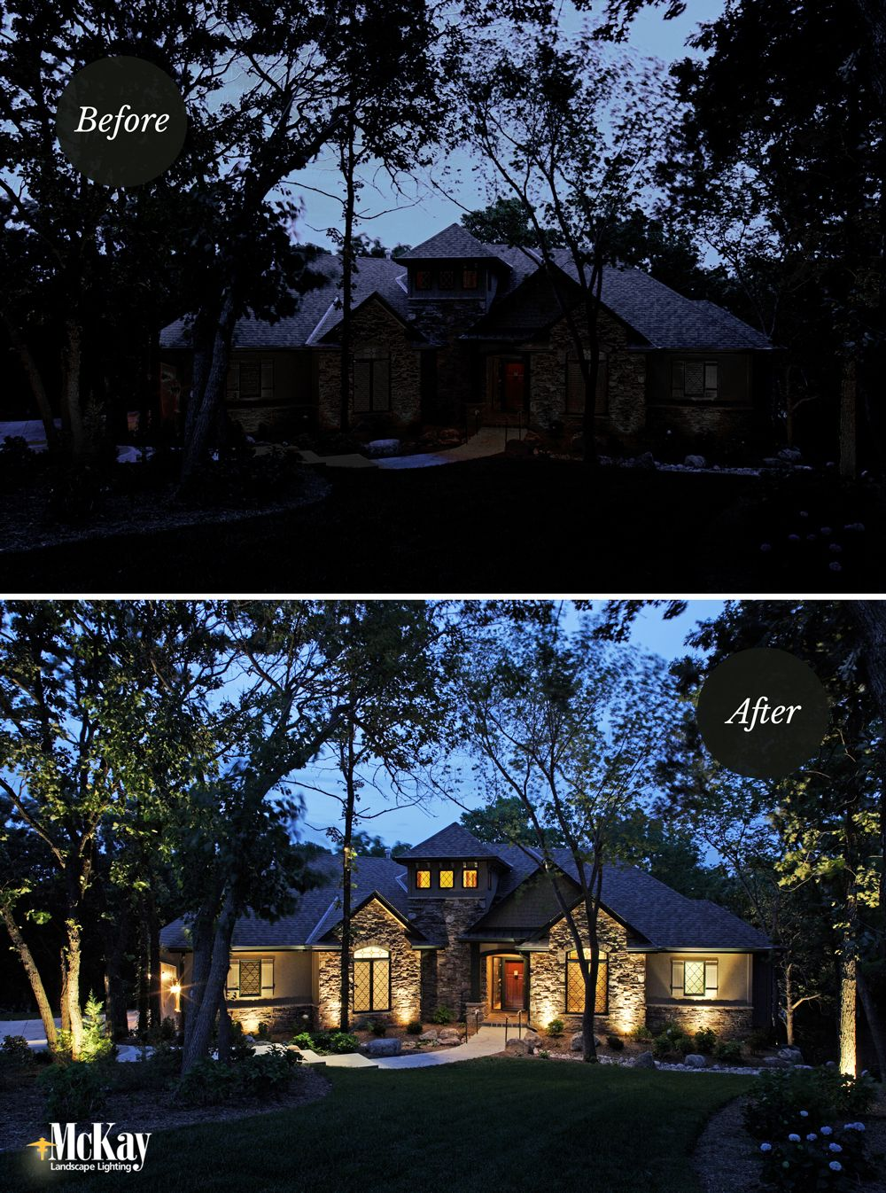 Landscape Lighting Before + After #landscapelightingdesign