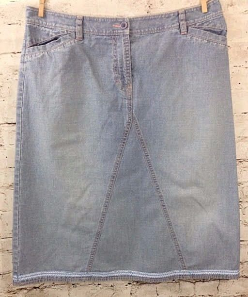 Halogen Light Denim Modest Jean Skirt Sz 6 A-Line No Slit Ribbon ...