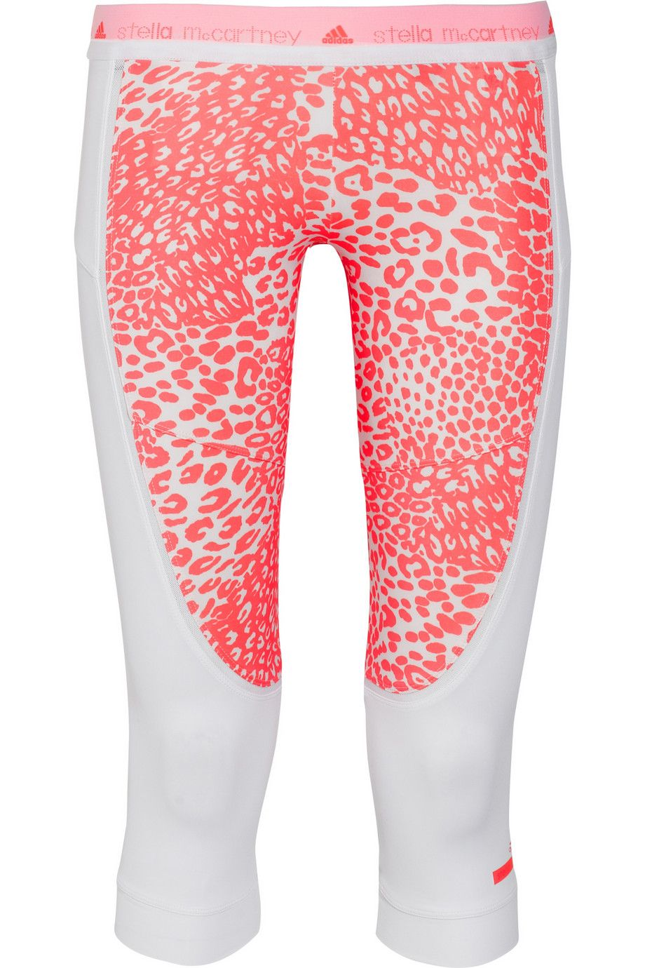 Adidas by Stella McCartney | Run mesh-trimmed animal-print stretch leggings | NET-A-PORTER.COM